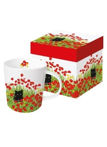 Dünya Style Black Cat Poppies Porselen Kupa Renkli